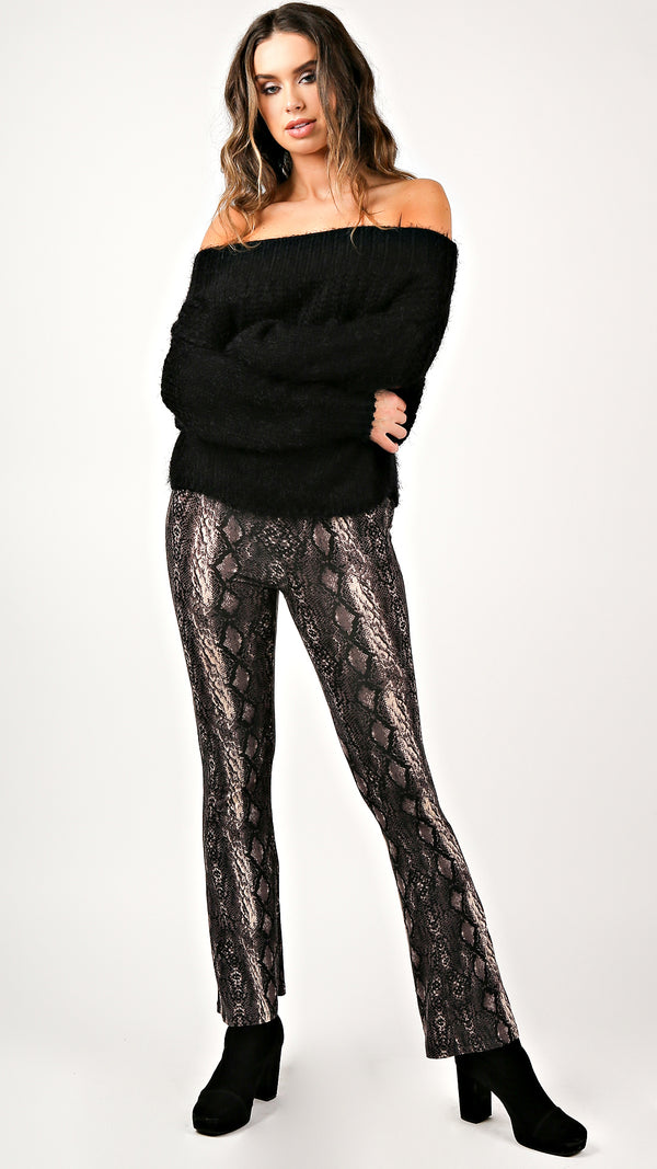 Dark Python Bell Bottom Pants - Msky