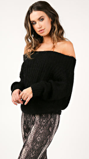 Off Shoulder Thick Knit Sweater