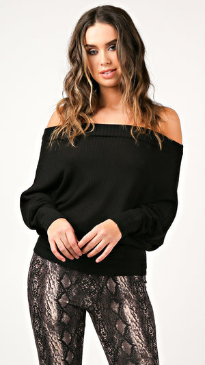 Off Shoulder Thermal Top- Black