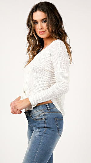 Waffle Knit Buttoned Cardigan Top