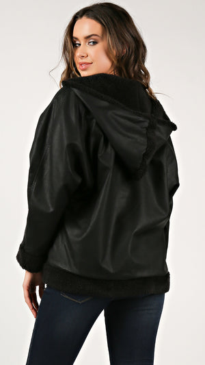 Malibu Leather Sherling Hoodie