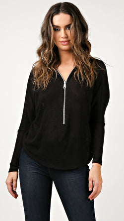 Zipper Front Tunic Top