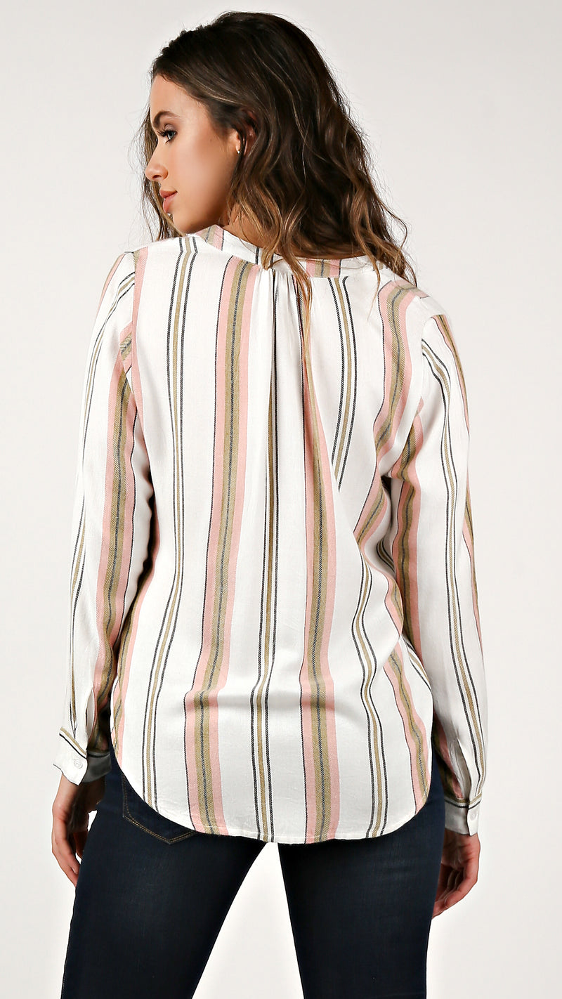Stripe Detail Wrap Top