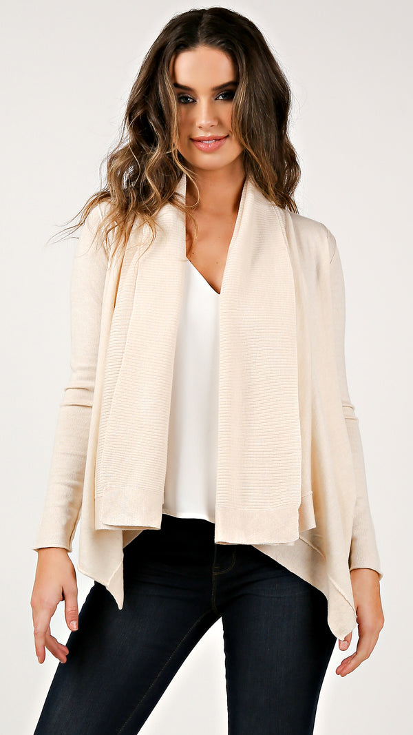 Creme Knit Mix Drapey Cardigan - Msky