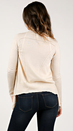 Creme Knit Mix Drapey Cardigan - ANGL