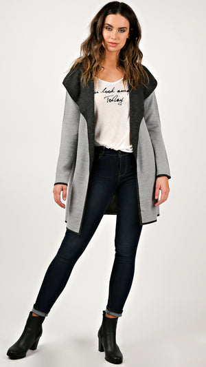 Two Tone Knit Long Cardigan