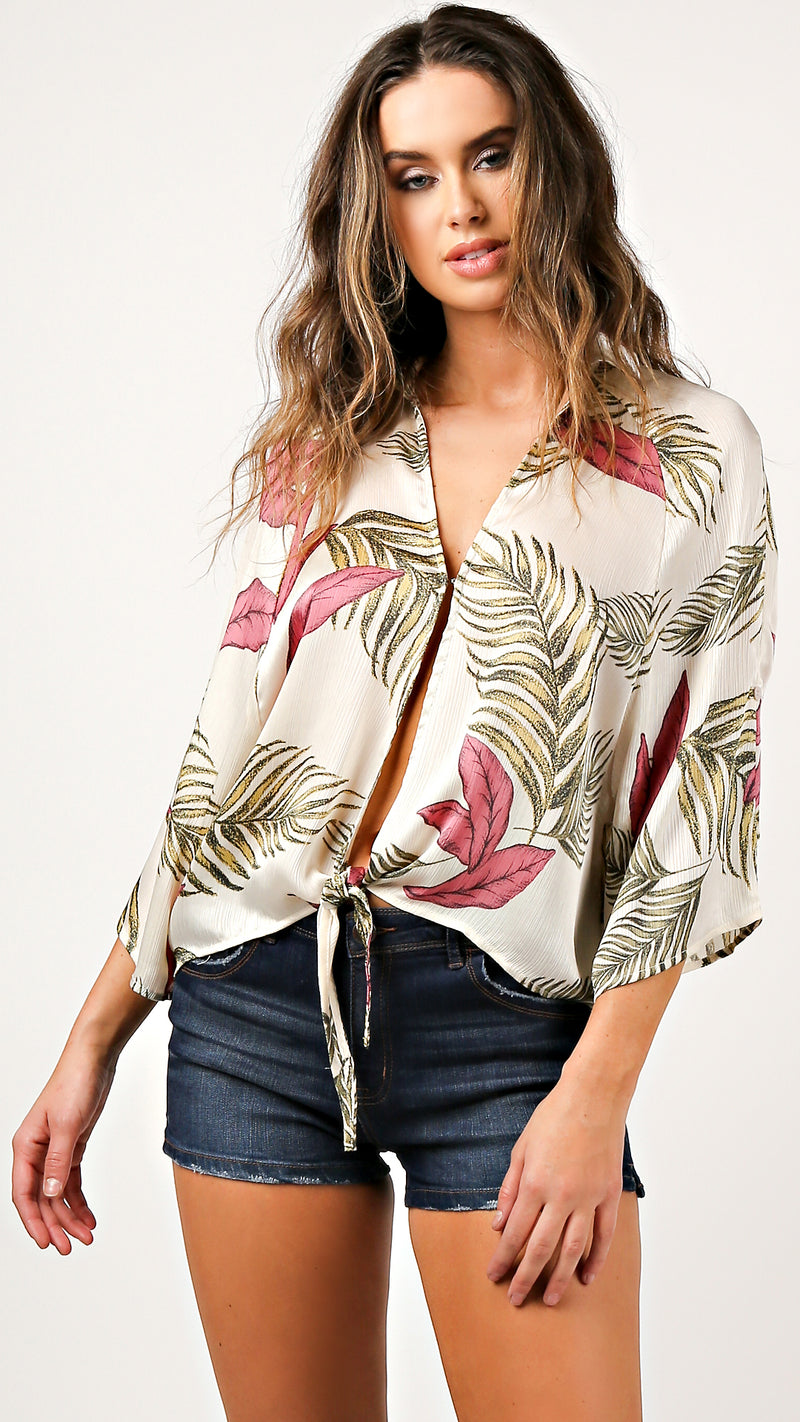 Hawaiian Breeze Tie Front Top