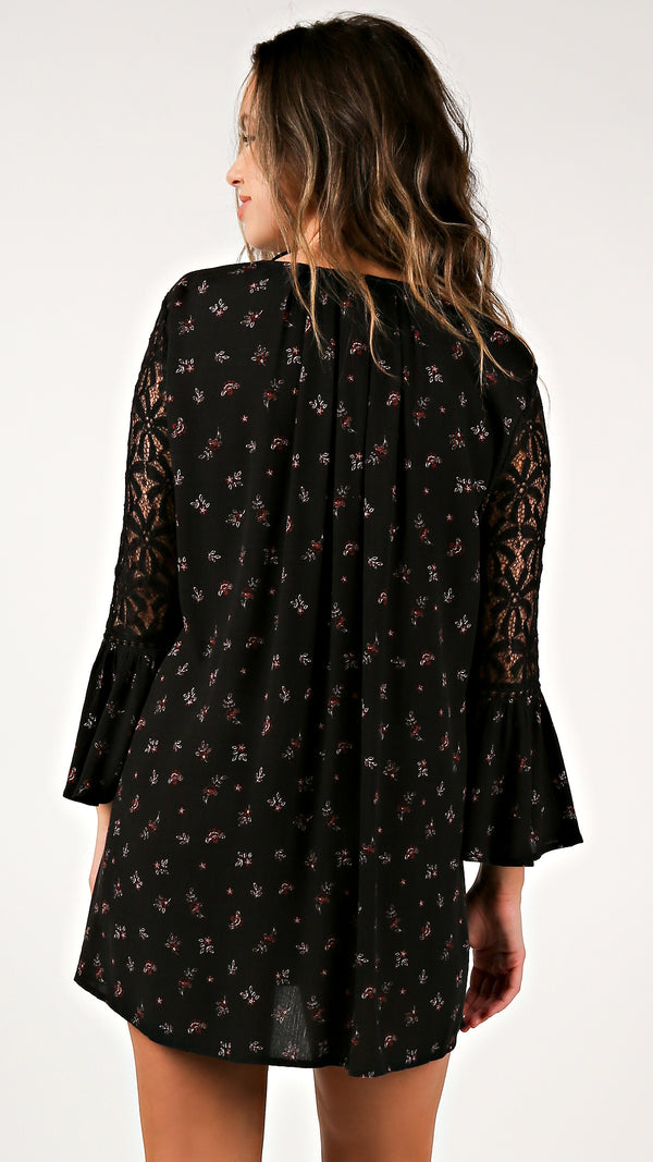 Bell Sleeve Lace Floral Tunic Dress - Msky