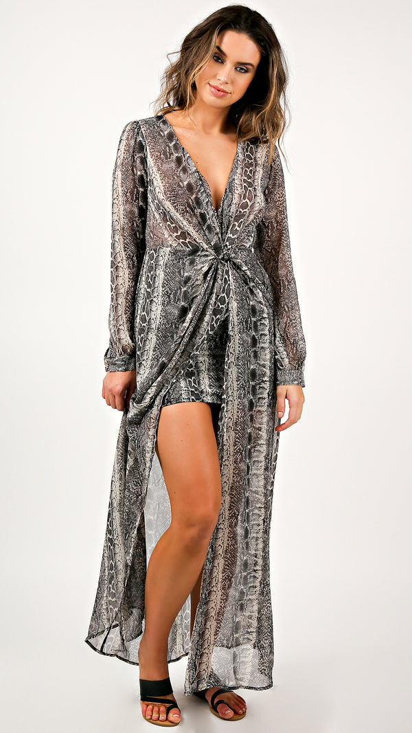 Chiffon Snake Print Maxi Dress - Msky