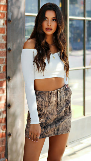 Long Sleeve Mini Ribbed Crop Top...