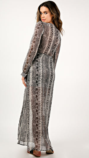 Chiffon Snake Print Maxi Dress