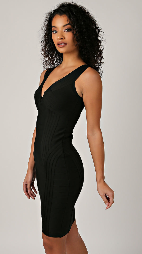 Abby V- Neck Bandage Dress - Msky