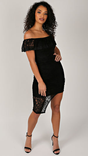 Black Lace Ruffle Off Shoulder Dress