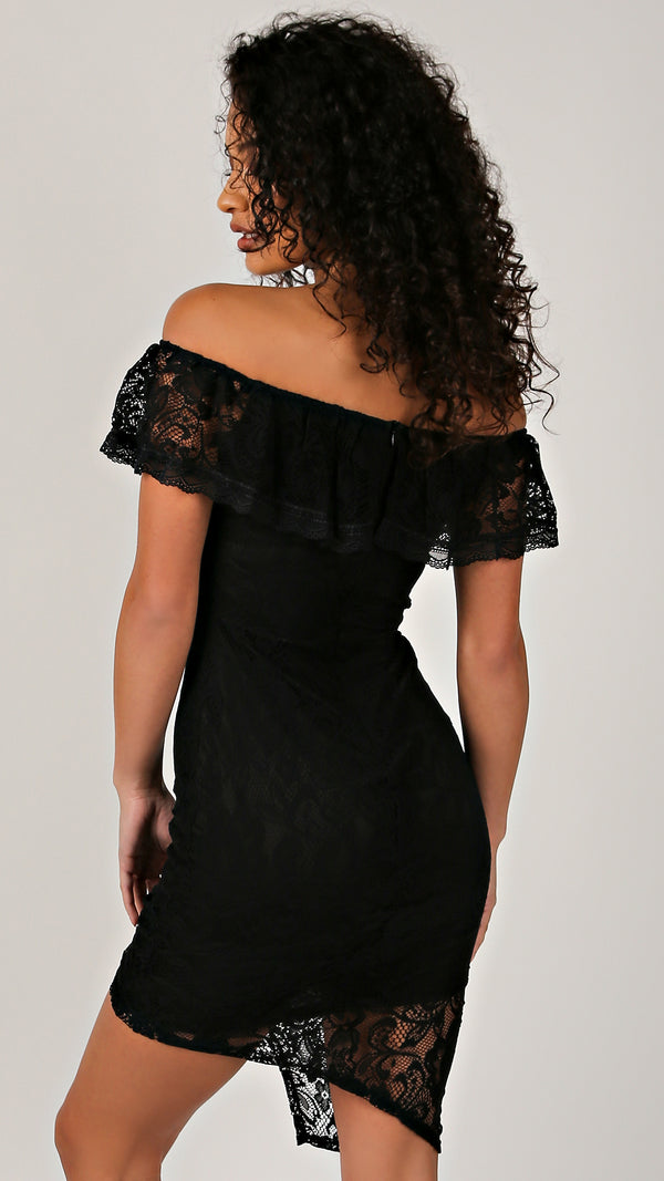 Black Lace Ruffle Off Shoulder Dress - Msky