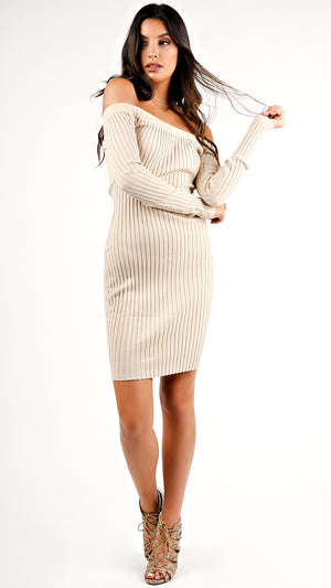 Ribbed Off Shoulder Bodycon Dress...