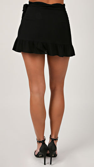 Crinkle Ruffle Tie Side Skirt