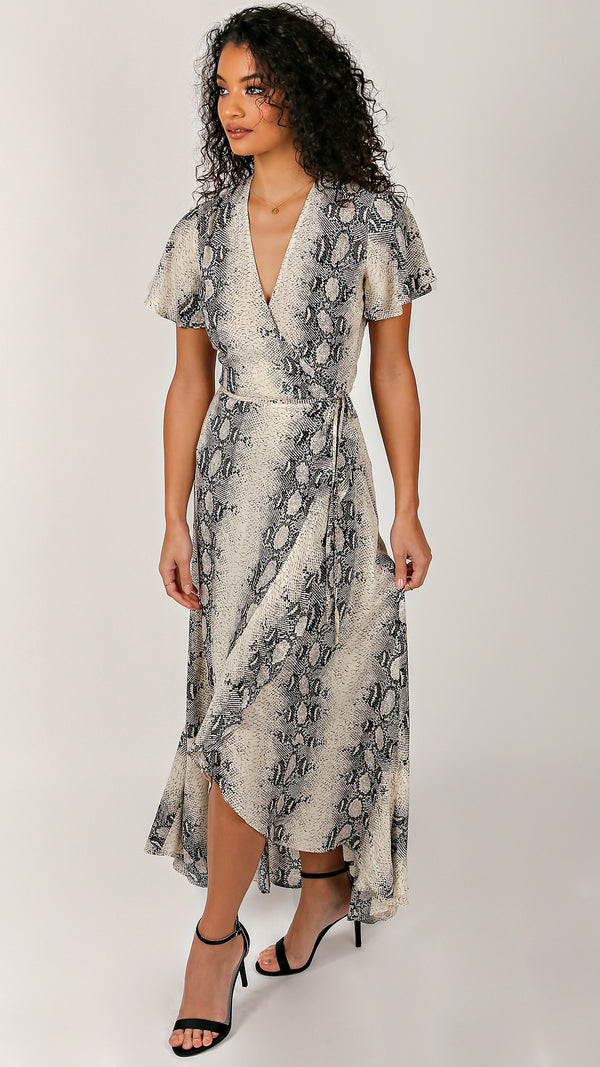 Snake Ruffle Maxi Dress