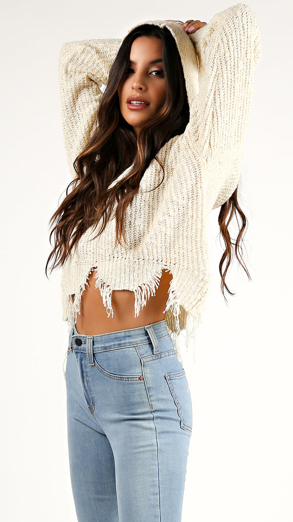 Frayed Knit Hoodie Sweater... - ANGL