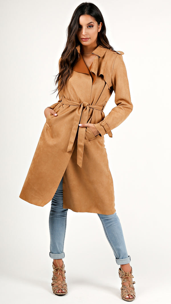 Suede Drapey Trench Coat...
