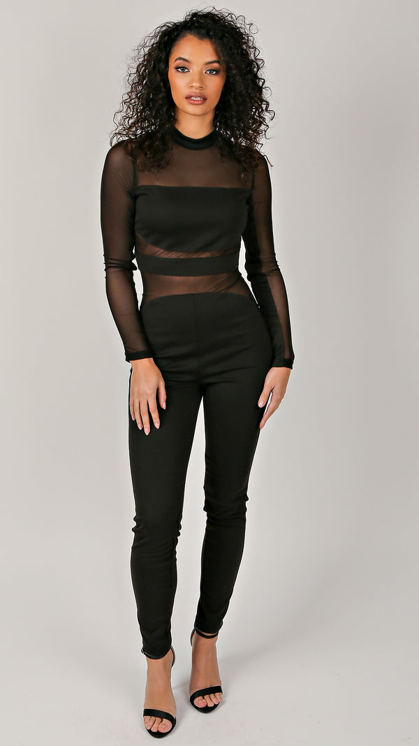 Sexy Mesh Long Sleeve Jumpsuit