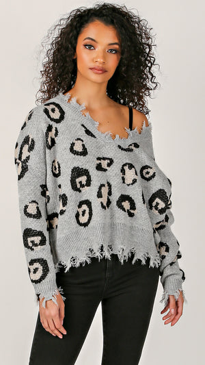 Chloe Cheetah Distressed Sweater - ANGL