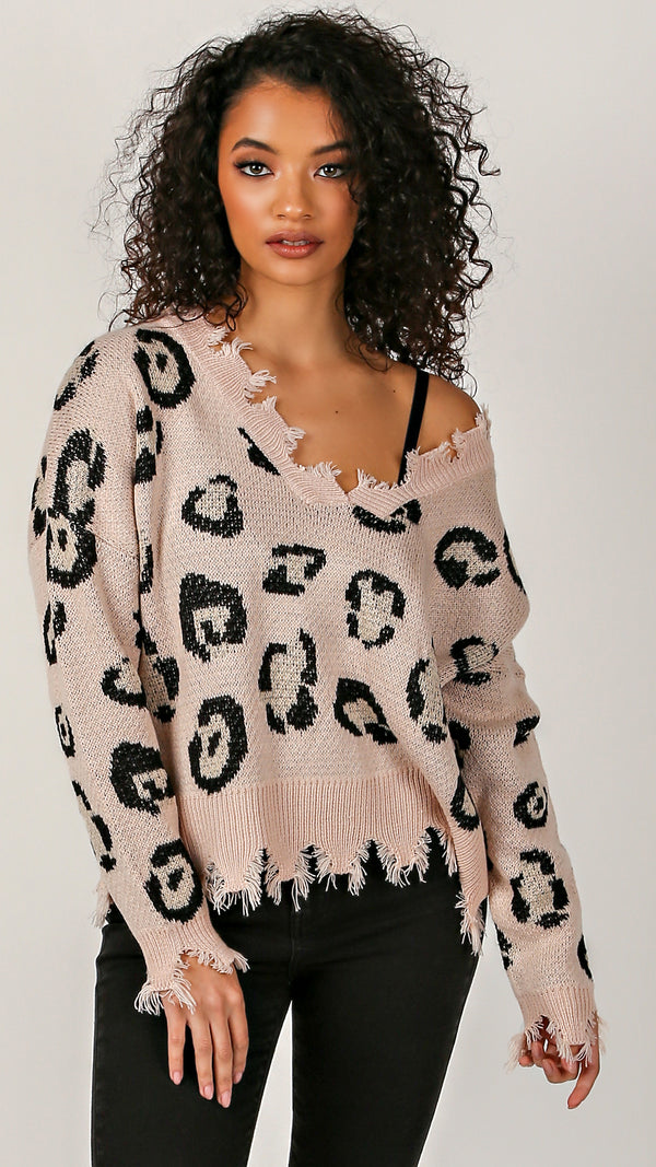 Chloe Cheetah Distressed Sweater - Msky