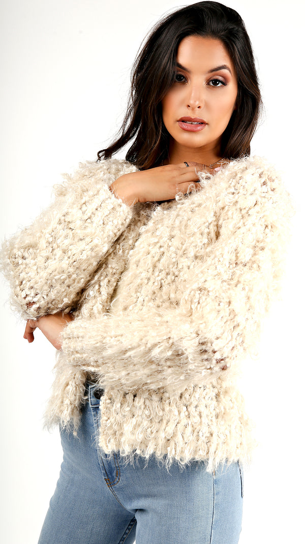 Sparkle Yarn Fuzzy Jacket...