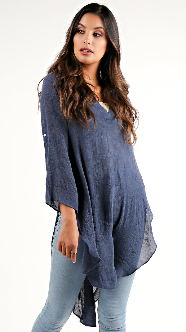 Navy Mineral Wash Tunic Top...