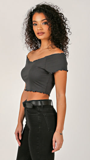 Raw Off Shoulder Ribbed Crop Top