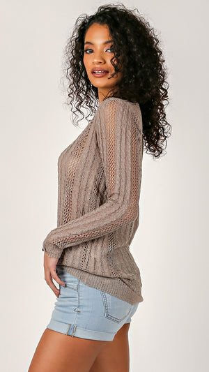 Thin Knit Long Sleeve Top