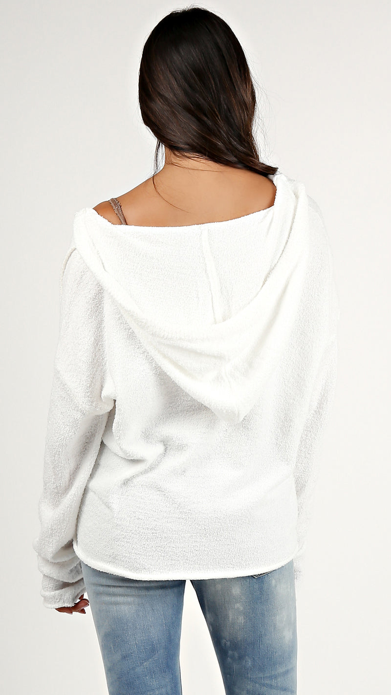 Light Fuzzy Hoodie Sweater...