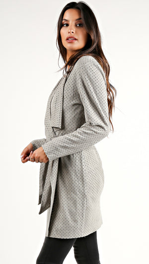 Grey Suede Coat Jacket...