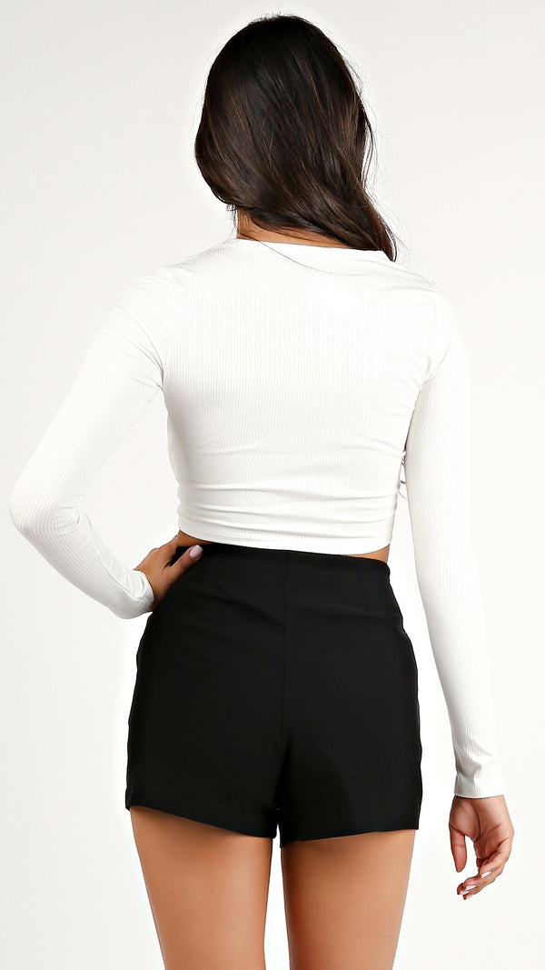 Fitted Long Sleeve Crop Top... - Msky