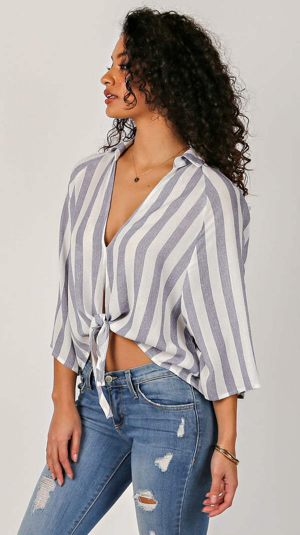 Bold Stripe Roll Up Sleeve Top - Msky