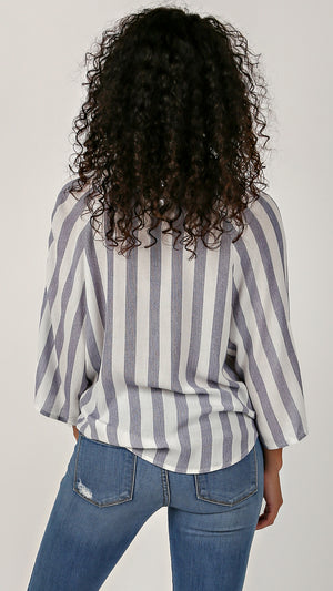 Bold Stripe Roll Up Sleeve Top