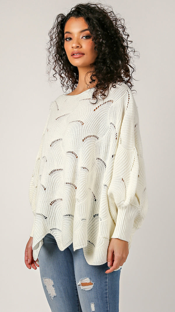 Fan Knit Poncho Sweater - Msky