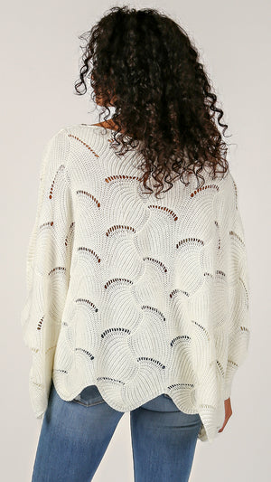Fan Knit Poncho Sweater