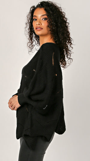 Fan Knit Poncho Sweater - ANGL
