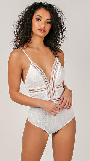 Mesh Line Detailed V-Neck Bodysuit