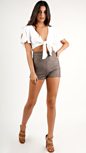 Mini Zig High Waist Shorts...
