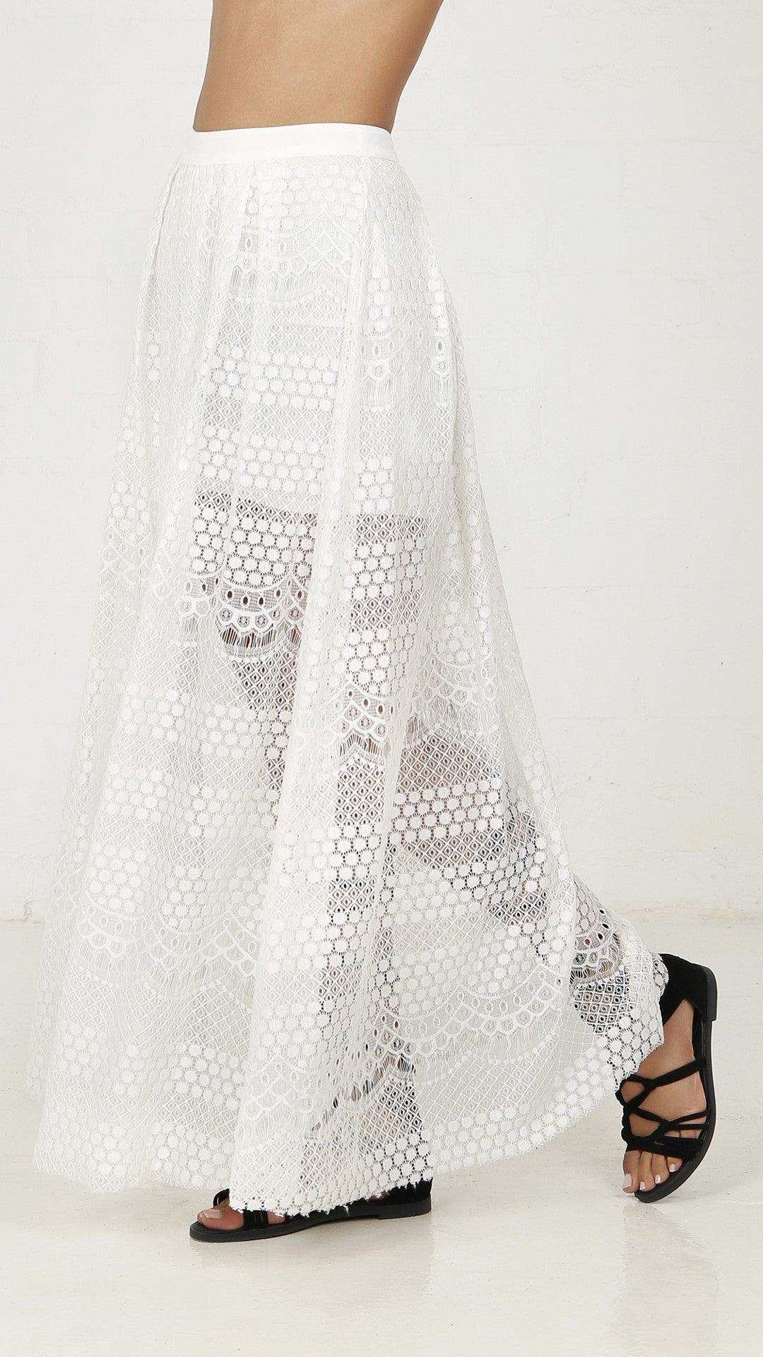 Pleat All Lace Maxi Skirt - ANGL