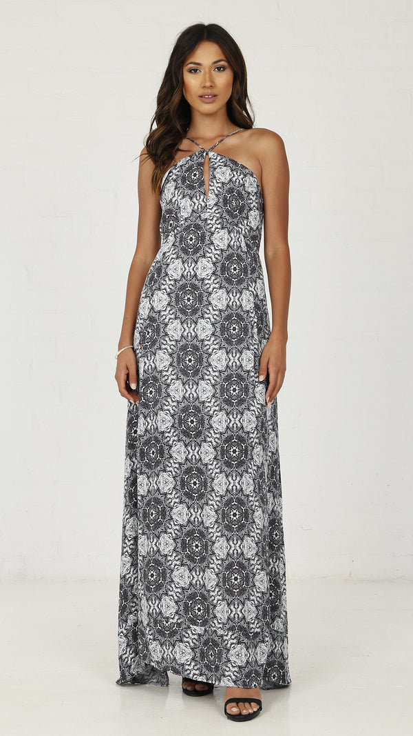 Printed Halter Peephole Maxi Dress