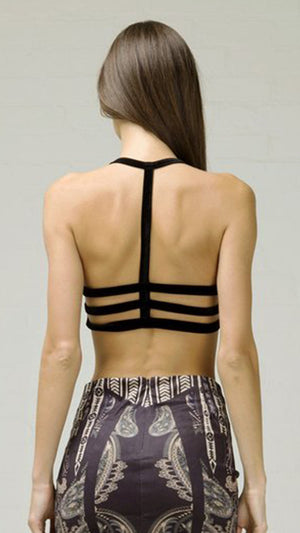 Velvet Rib Back Bra Top - Black