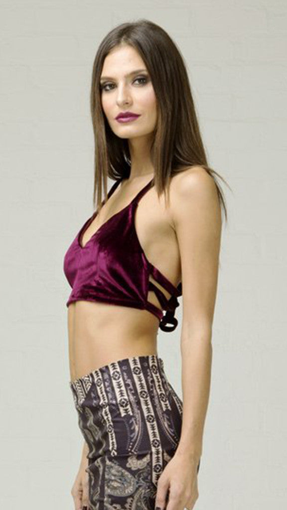 Velvet Rib Back Bra Top - Burgundy
