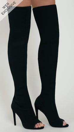 Knitted Thigh High Peep Toe Boots