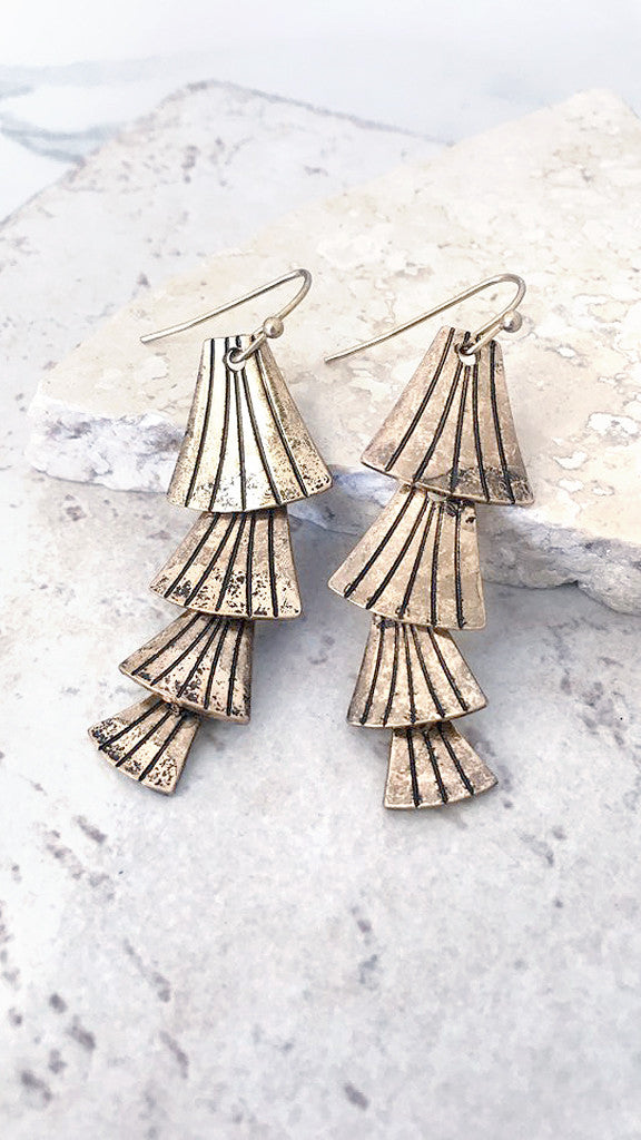 Layered Fan Drop Earring