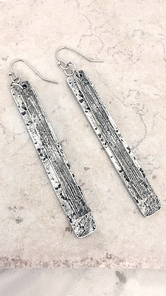 Etched Metal Bar Earring - Msky
