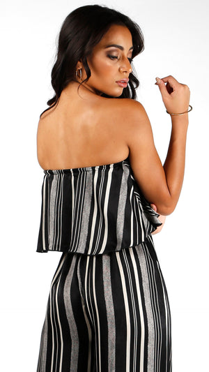 Satin Striped Tube Crop Top