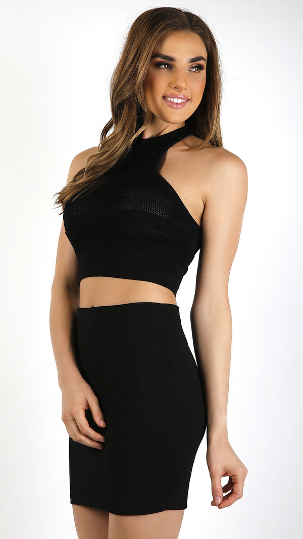 Sporty Ribbed Mesh Crop Top