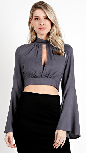 Bell Sleeve Tie Back Crop Top- Deep Grey
